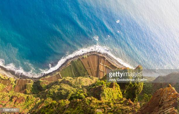 aerial view of coastline - madeira island stock photos and pictures