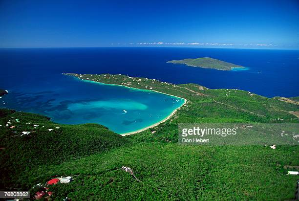 aerial view of coastline - magens bay stock photos and pictures