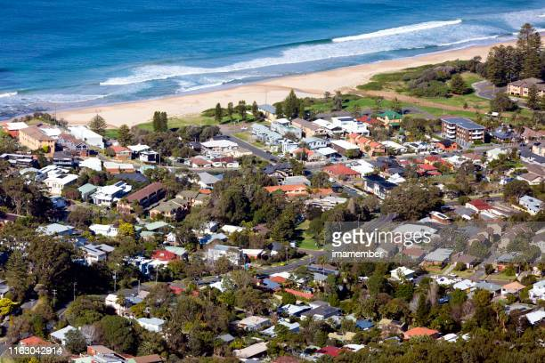 aerial view of coastline town bulli, background with copy space - town stock pictures, royalty-free photos & images