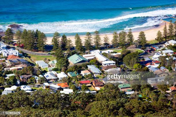 aerial view of coastline town of wollongong, background with copy space - coastline stock pictures, royalty-free photos & images