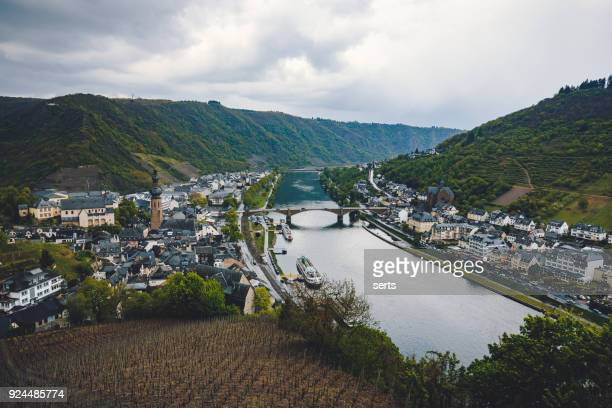aerial view of cochem and the river moselle at river moselle, rhineland-palatinate, germany - north rhine westphalia stock pictures, royalty-free photos & images