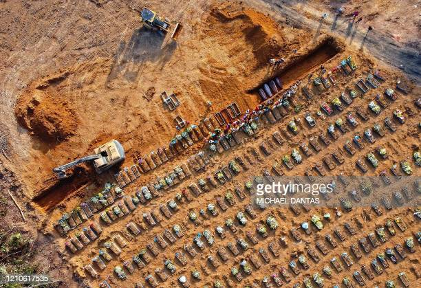 Aerial view of coffins being buried at an area where new graves have been dug at the Parque Taruma cemetery during the COVID19 coronavirus pandemic...
