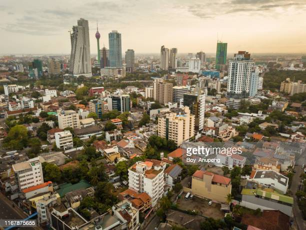 aerial view of colombo cityscape at dawn the capital cities of sri lanka. - capital cities bildbanksfoton och bilder