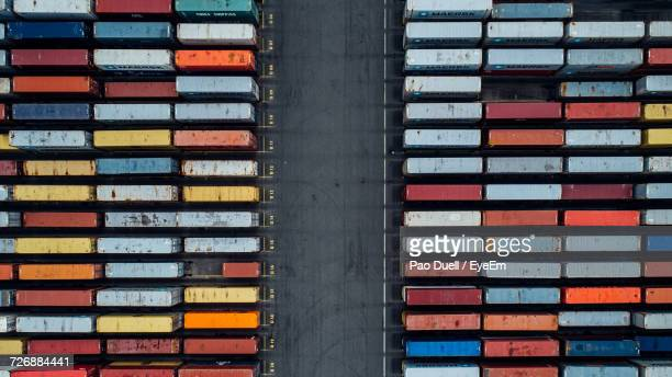 Aerial View Of Colorful Cargo Containers At Commercial Dock