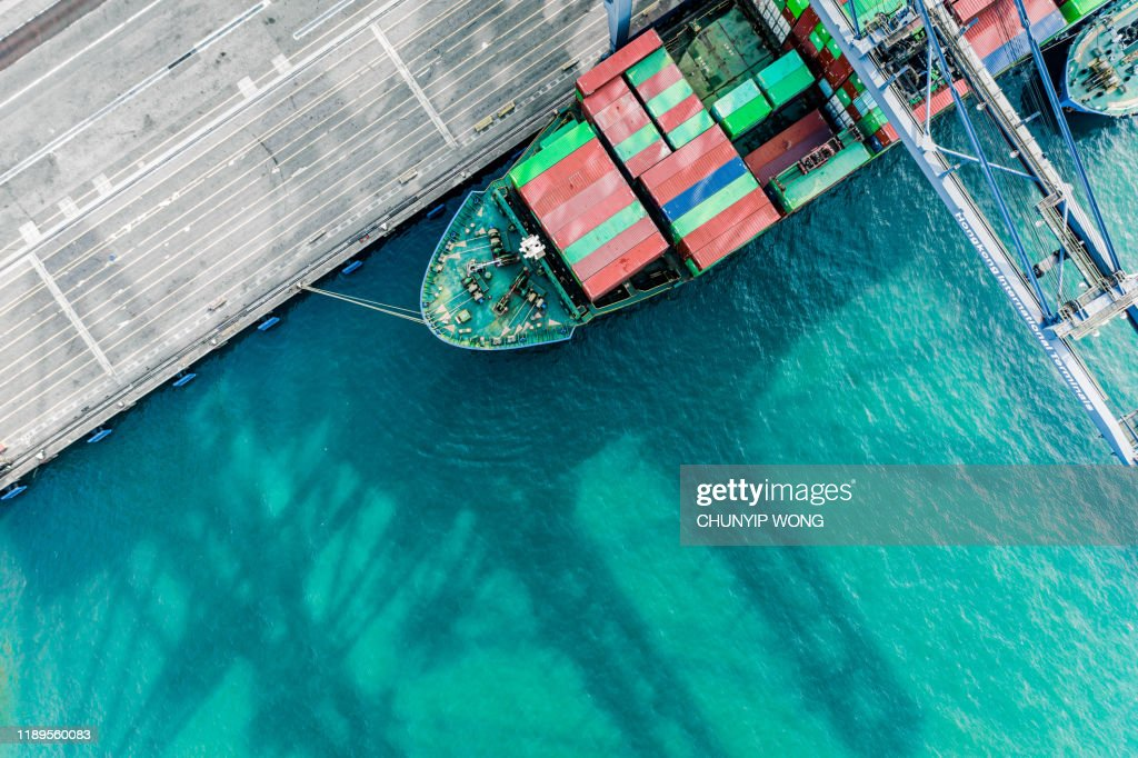 Aerial view of colorful container terminal : Stock Photo