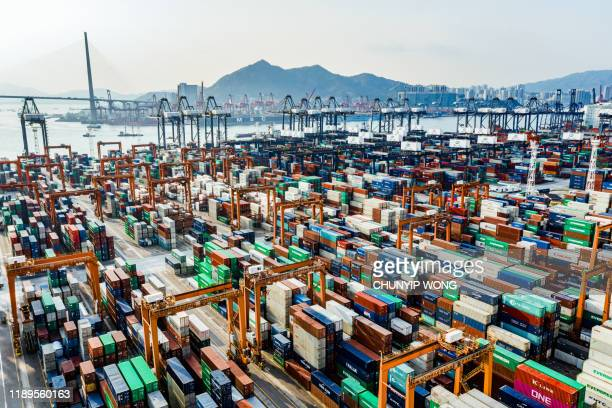 aerial view of colorful container terminal - trade war with china stock pictures, royalty-free photos & images