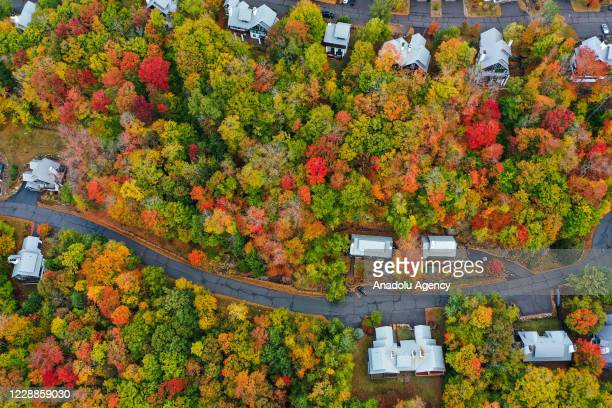 Aerial view of colorful fall foliage at the White Mountain National Forest in New Hampshire, United States on October 2, 2020.