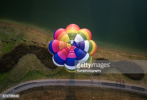 Aerial View of colorful hot air balloon.