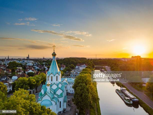 aerial view of colorful sunset over the strasbourg - strasbourg stock pictures, royalty-free photos & images