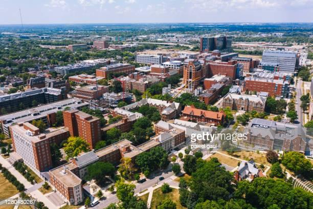 aerial view of columbus ohio cityscape - columbus ohio stock pictures, royalty-free photos & images