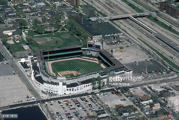Aerial view of Comiskey Park and surrounding parking lots highways and buildings Chicago Illinois May 1984