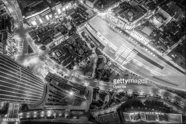 aerial view of commercial district - liyao xie stockfoto's en -beelden