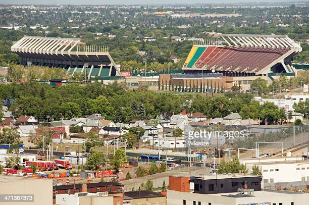 aerial view of commonwealth stadium, edmonton - commonwealth stadium edmonton stock photos and pictures