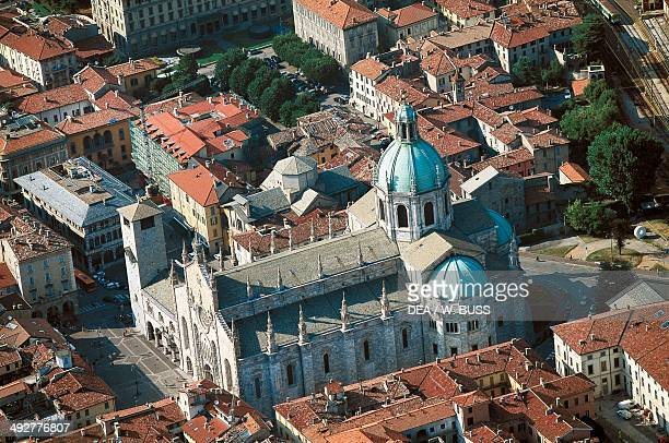 Aerial view of Como cathedral, 14th-18th century, Lombardy, Italy.