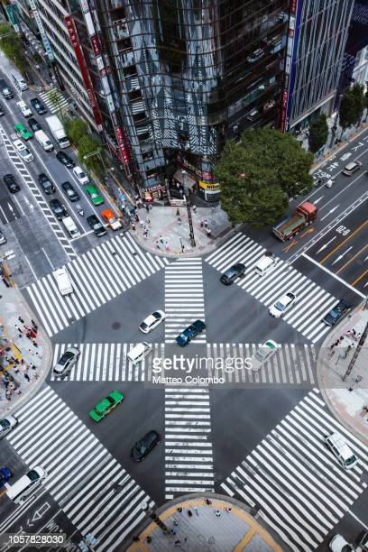 aerial view of complex crossing, tokyo, japan - zebra crossing stock pictures, royalty-free photos & images