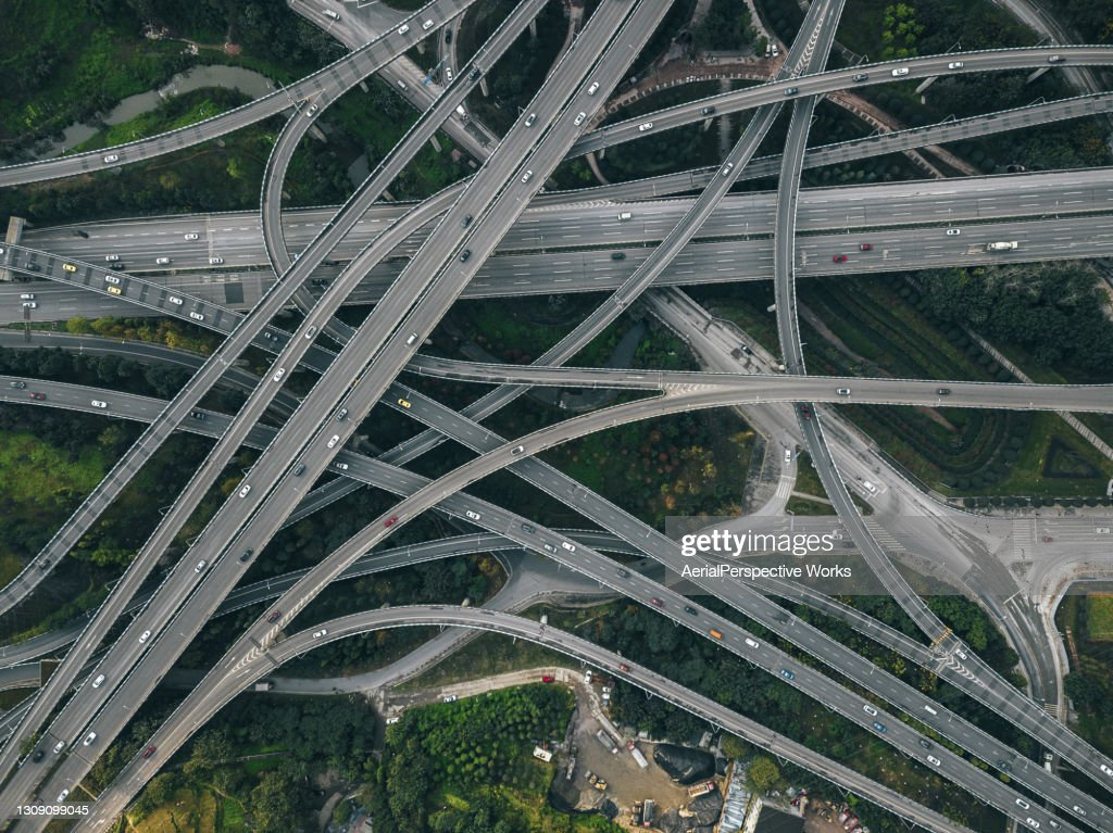Aerial View of Complex Overpass and Busy Traffic : Stock Photo