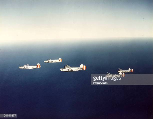 Aerial view of Consolidated B24 Liberator heavy bombers in flight over the North Sea 1940s