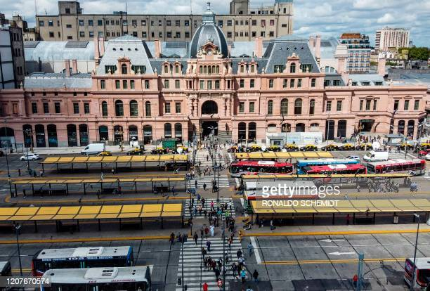 Aerial view of Constitucion train station in Buenos Aires, on March 19, 2020. - In Argentina, which has registered three COVID-19 deaths, the...