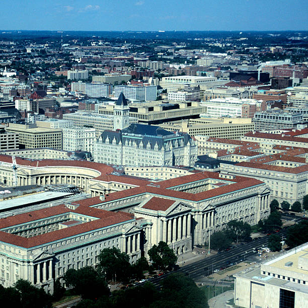 Aerial view of Constitution Avenue, Washington DC
