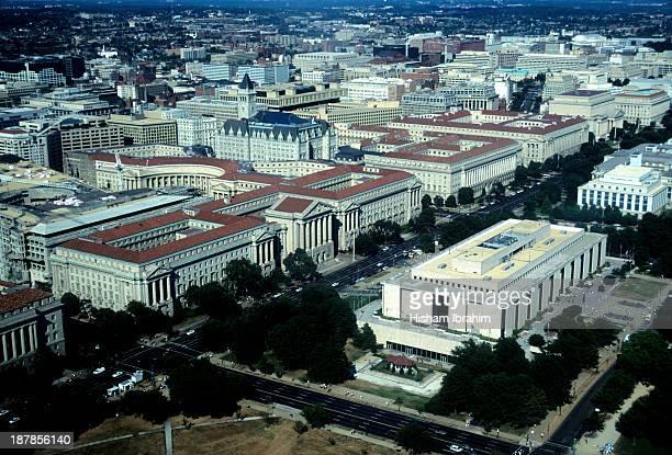 Aerial view of Constitution Avenue, Washington