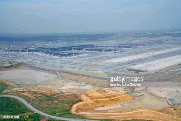 Aerial view of construction area of third airport in Istanbul