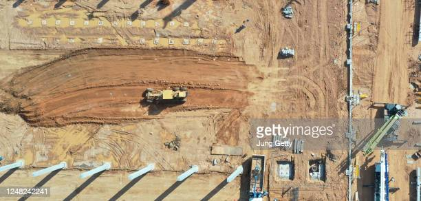aerial view of construction site of residential area buildings - archaeology stock pictures, royalty-free photos & images