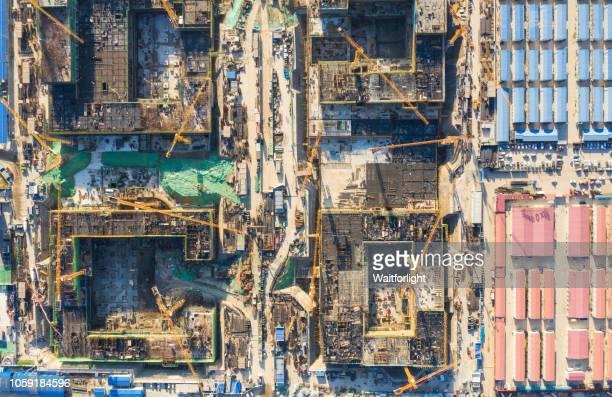 aerial view of construction site - 中国北東部 ストックフォトと画像