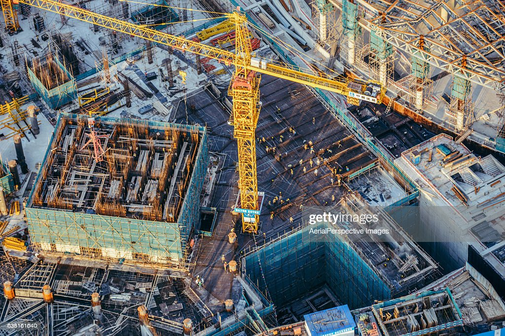 Aerial View Of construction site with crane : Stock Photo