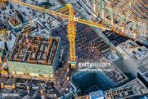 Aerial View Of construction site with crane