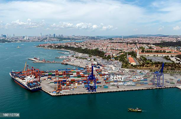 Aerial View of Container Port and Ship