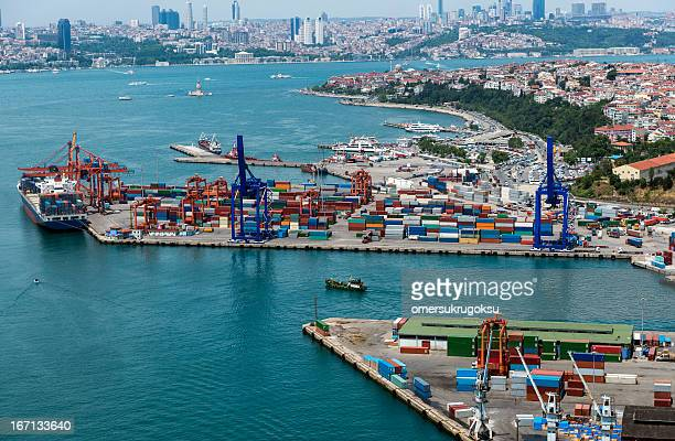 aerial view of container port and ship - haydarpasa stock photos and pictures