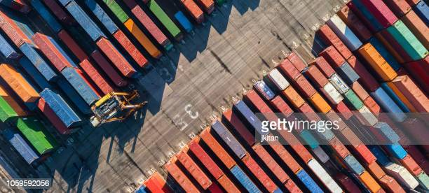 aerial view of container port - commercial dock stock pictures, royalty-free photos & images