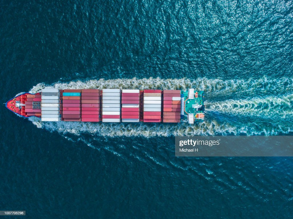 Aerial view of  container ship in sea : Stock Photo