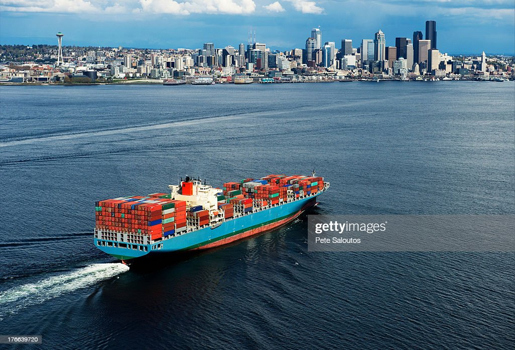 Aerial view of container ship, Seattle, Washington State, USA : Stock Photo
