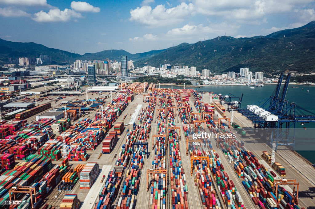 Aerial View of container ship terminal in Shenzhen, China : Stock Photo