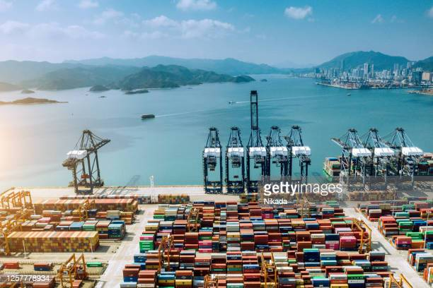 aerial view of container ship terminal in shenzhen, china - shenzhen stock pictures, royalty-free photos & images