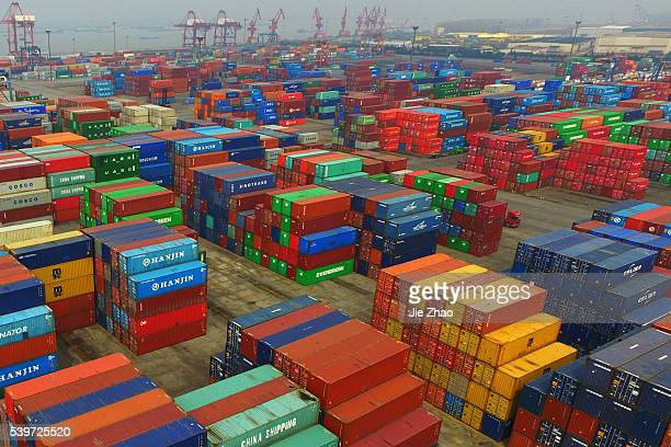 Aerial view of container terminal in Nanjing Jiangsu province east China on 14th March 2016