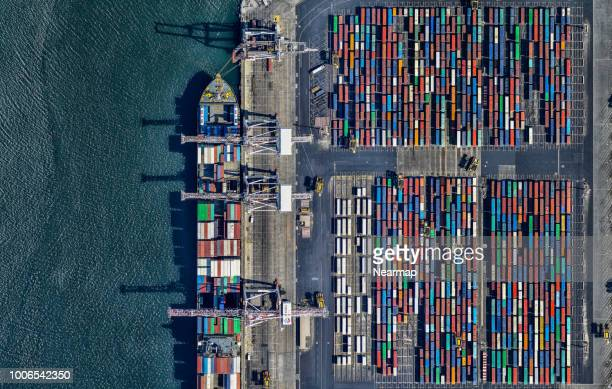 aerial view of container terminal. victoria, australia - harbour stock pictures, royalty-free photos & images