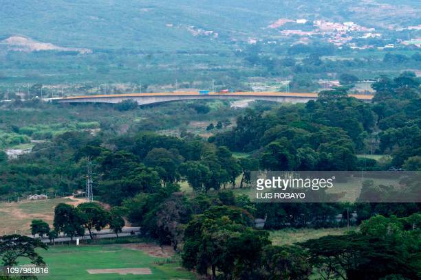 Aerial view of containers blocking the Tienditas Bridge which links Tachira Venezuela and Cucuta Colombia as seen from Cucuta Colombia on February 11...