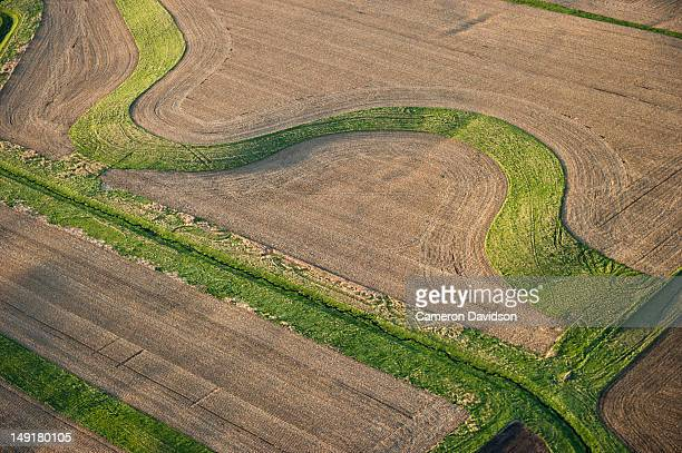 Aerial view of contour farming in Iowa