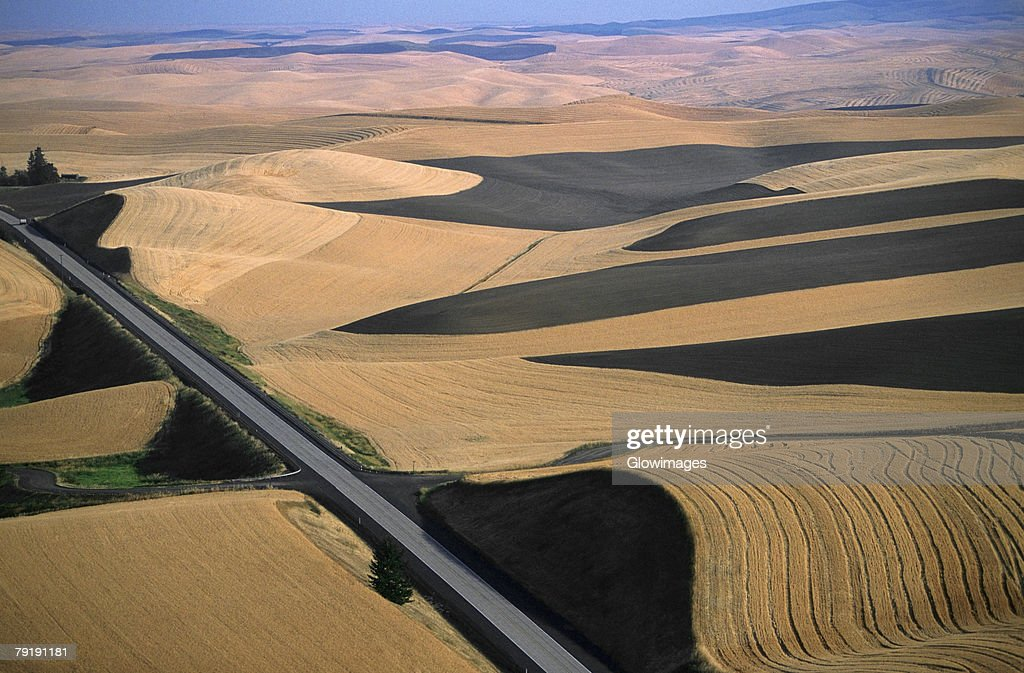 Aerial view of contour plowed fields, Washington state : Foto de stock