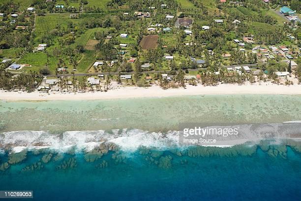 Aerial view of Cook Islands coastline