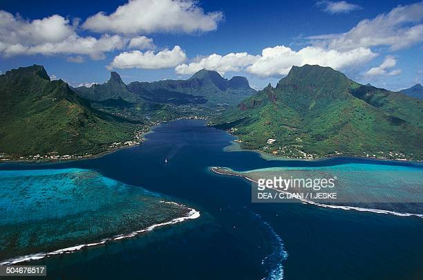Aerial view of Cook's Bay with its coral reef Moorea Society Islands French Polynesia Overseas Territory of France
