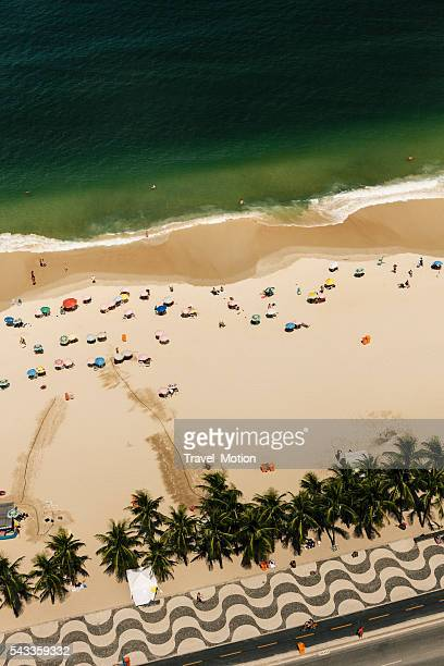 aerial view of copacabana beach, rio de janeiro, brazil - copacabana beach stock pictures, royalty-free photos & images