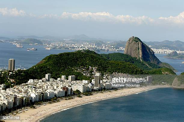 Aerial view of Copacabana Beach with six months to go to the Rio 2016 Olympic Games on February 5 2016 in Rio de Janeiro Brazil