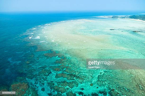 Aerial view of coral reef, Amami Oshima, Japan