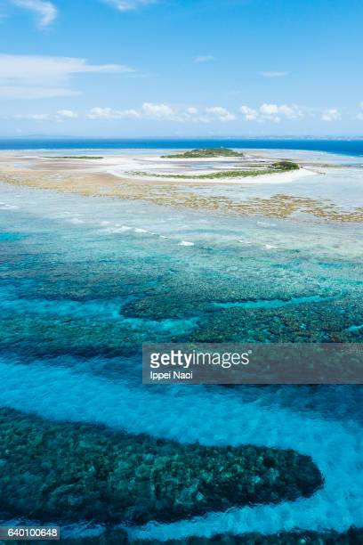 Aerial view of coral reef and tropical island, Okinawa, Japan