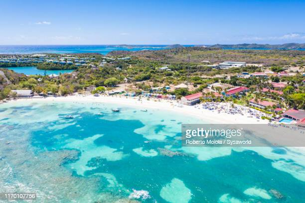 aerial view of coral reef, antigua, caribbean - antigua & barbuda stock pictures, royalty-free photos & images