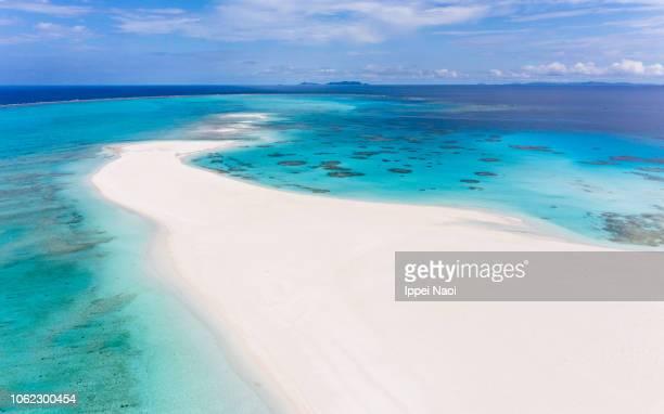 Aerial view of coral sand cay and tropical sea, Kume Island, Okinawa, Japan