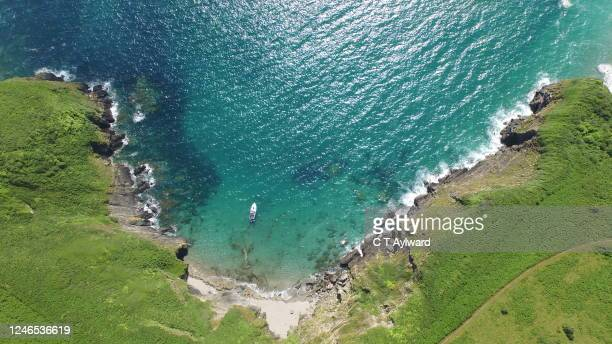 aerial view of cornish coastline - landscape scenery stock pictures, royalty-free photos & images
